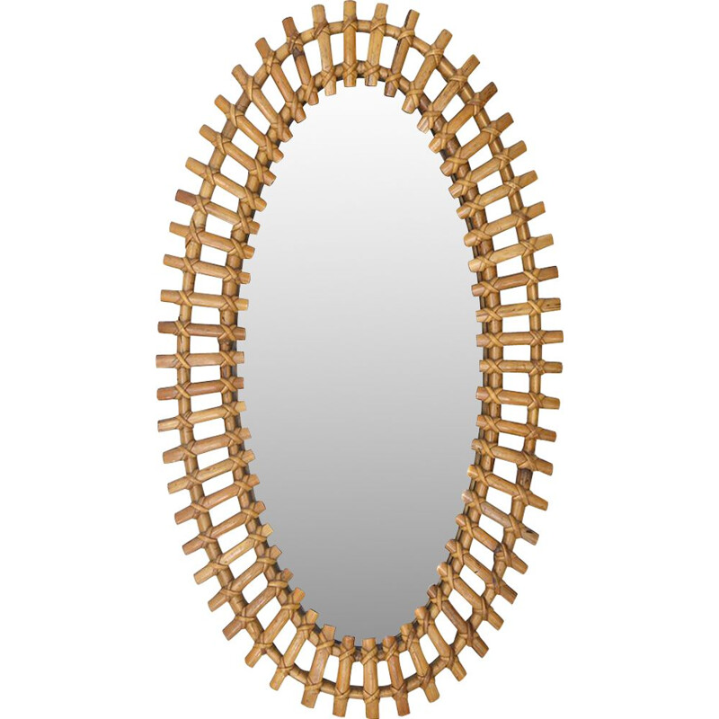 Vintage oval mirror with rattan frame, 1950s