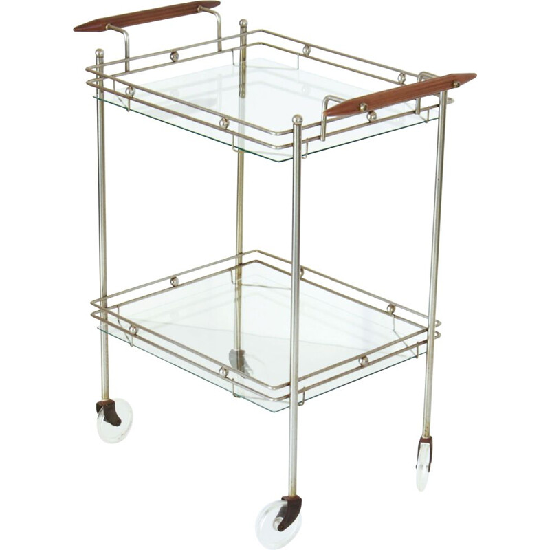 Vintage brass and glass bar trolley, 1970s