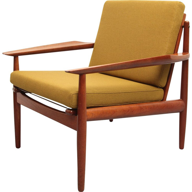 Vintage armchair in teak and mustard yellow fabric by Arne Vodder, 1960s