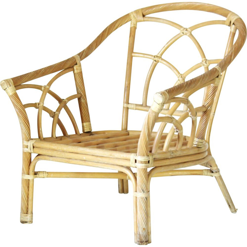 Curbed bamboo vintage armchair, 1970s