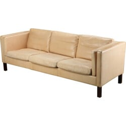 Long Danish cream leather sofa - 1970s