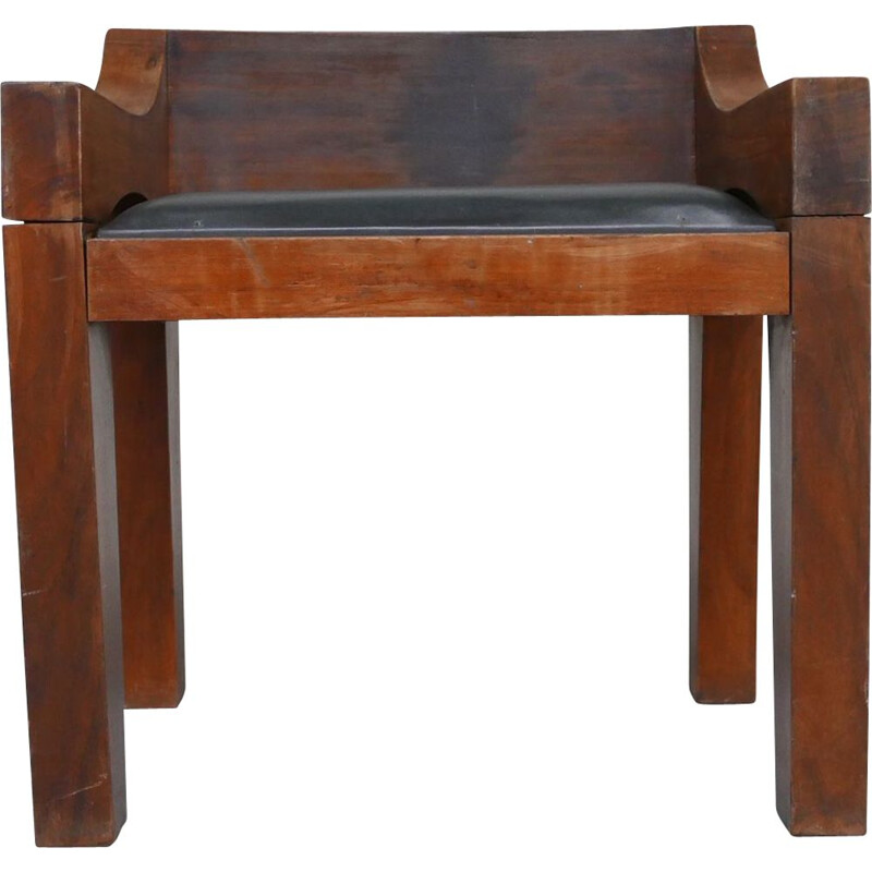 Mid-century Chunky wood and leather chair, Belgium 1950s