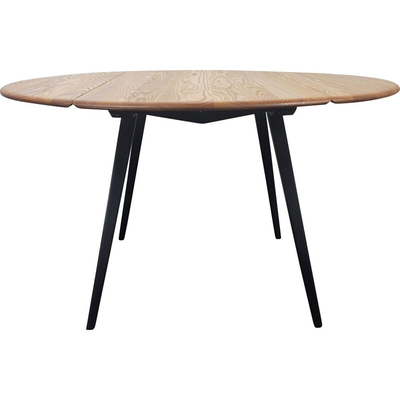 Vintage round drop leaf dining table by Ercol, 1960s