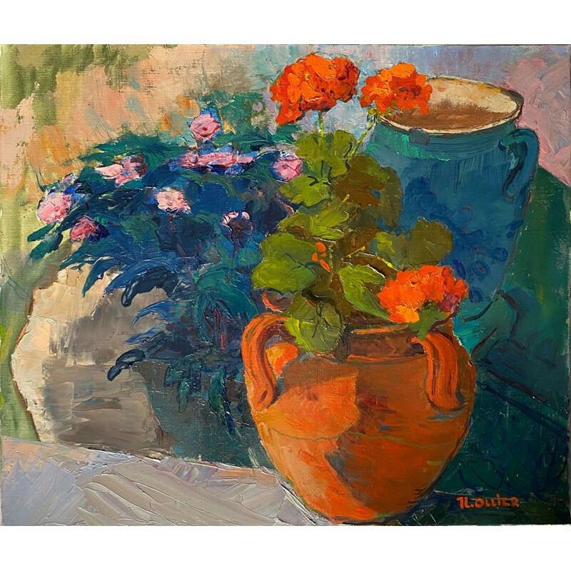 Vintage painting The Geraniums unframed by Jean Louis Ollier