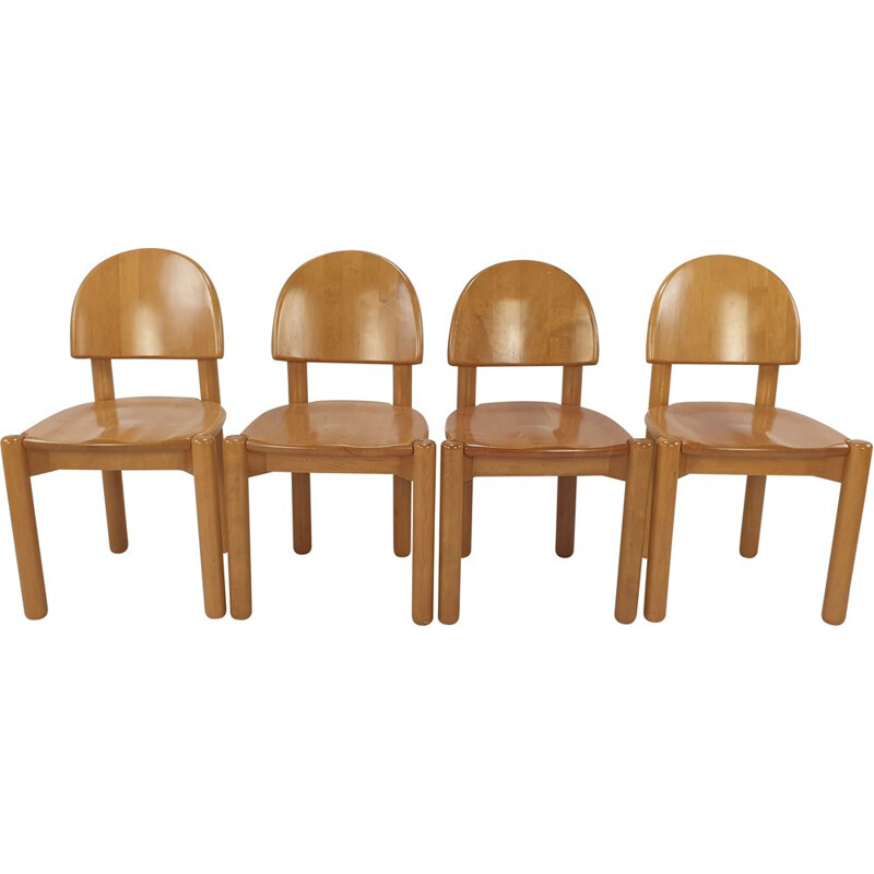 Set of 4 vintage oakwood dining chairs, 1980s
