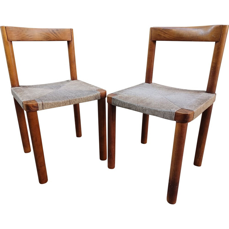 Pair of vintage wooden chairs, 1950s