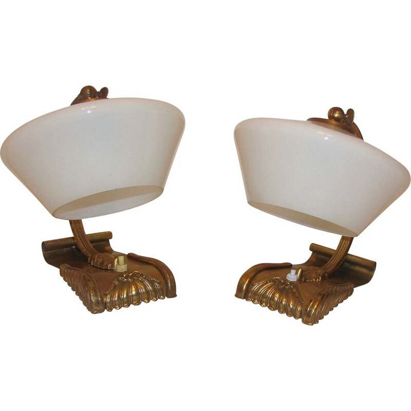 Pair of brass lamps, 1930s