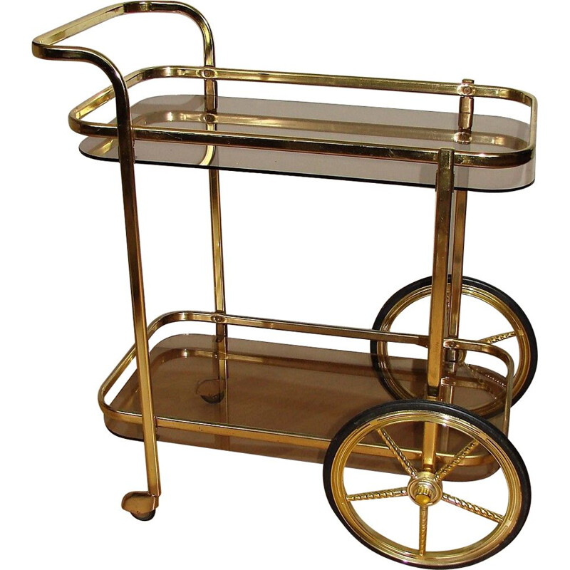 Vintage mobile bar cart of brass metal and glass, 1970s