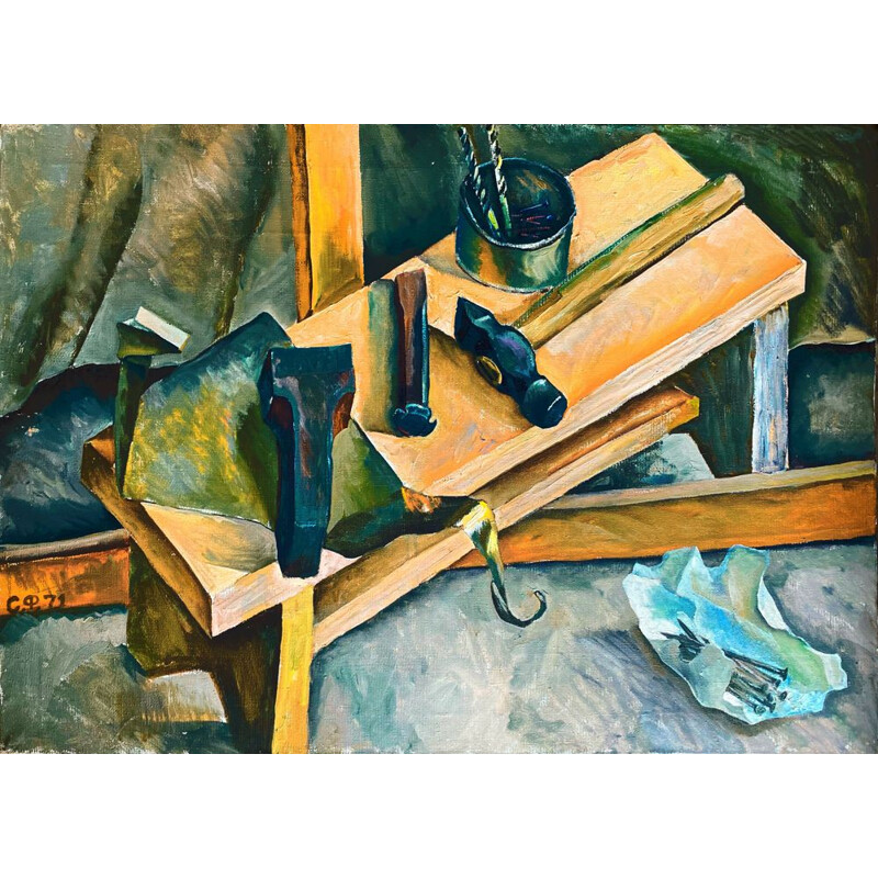Vintage painting The Tools by Farkhat Sabirzyanov, Russia 1933s
