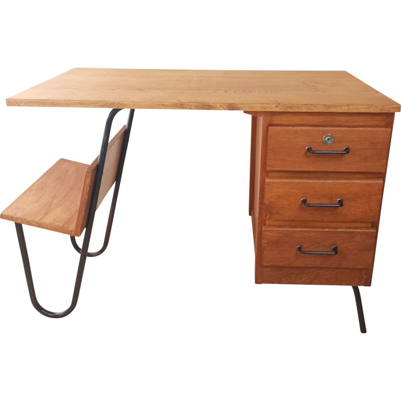 Vintage 3 drawers desk by Jacques Hitier for Spirol