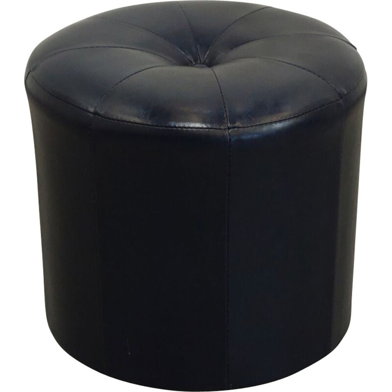 Vintage ottoman in navi blue faux leather, 1970s