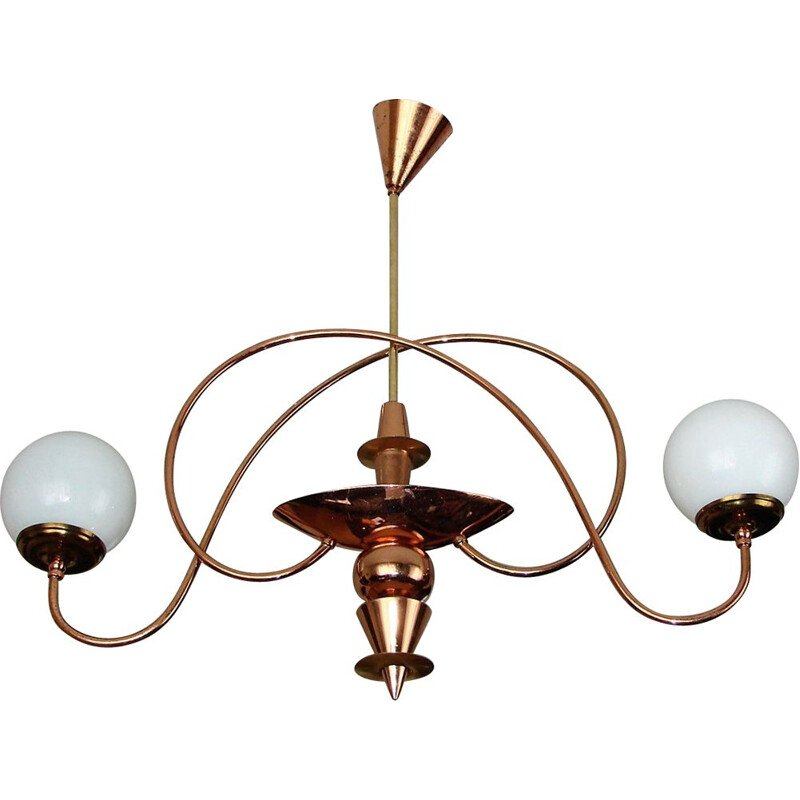 Mid century chandelier made of brass steel and glass, 1960s