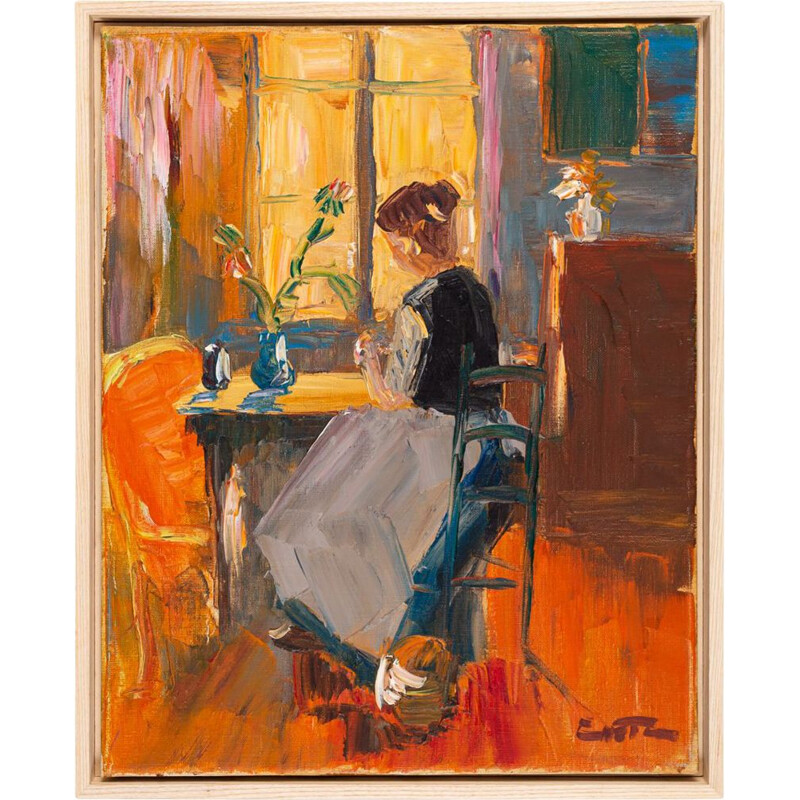 Oil on canvas vintage young woman in the morning sun