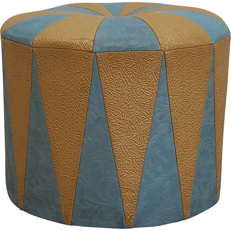 Vintage ottoman blue and beige embossed faux leather, 1970s