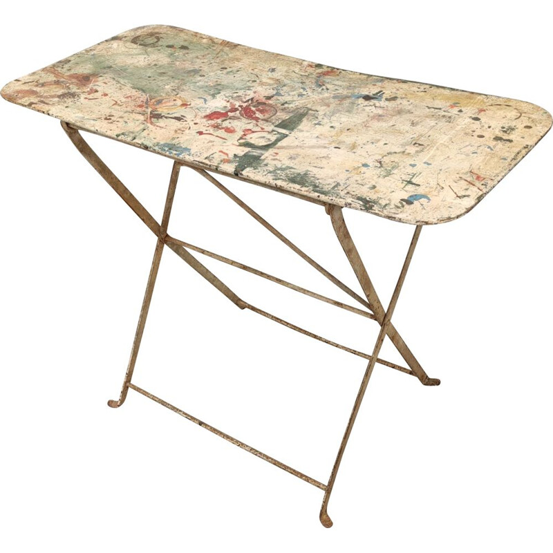 Mid century old metal folding table, France 1900