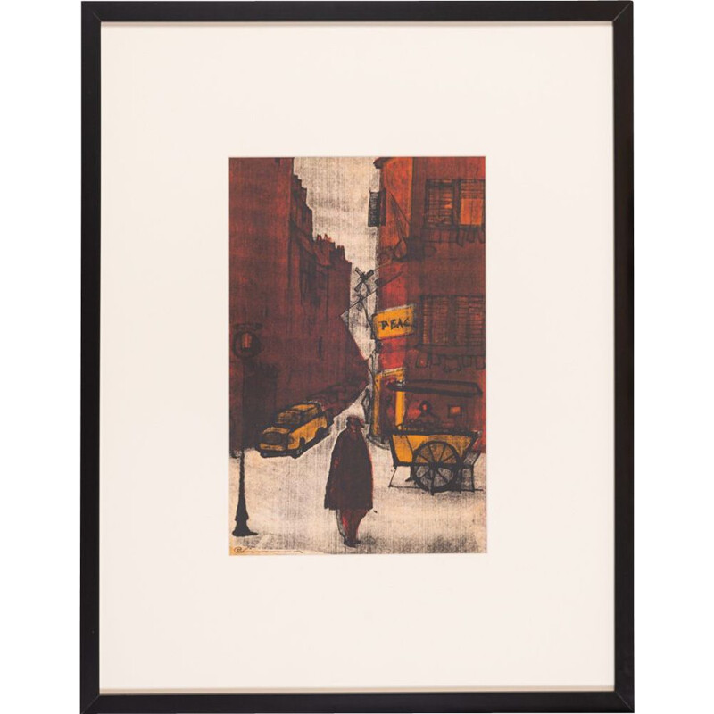 """Vintage painting """"New York street scene"""" color lithograph, 1970s"""