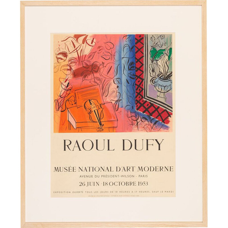Vintage lithographic exhibition poster 75 x 91 cm by Raoul Dufy