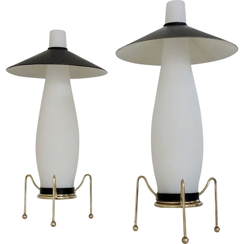 Pair of vintage opaline night stand lamps, Italy 1950