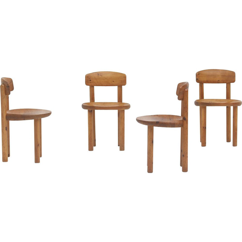 Set of 5 vintage pinewood chairs by Daumiller for Hirtshals Sawmill, Denmark 1970s