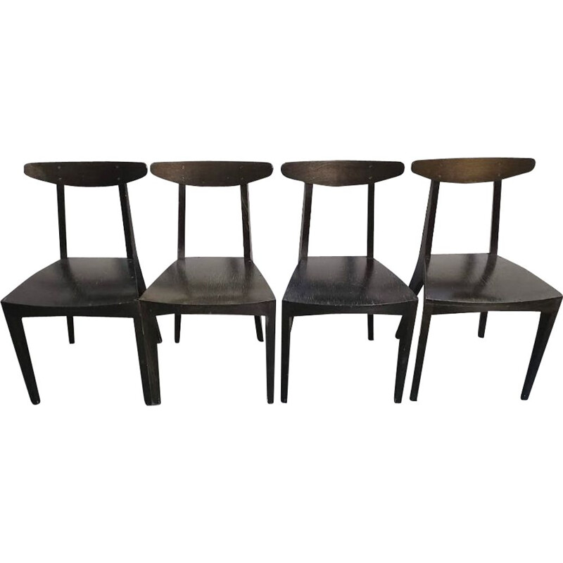 Set of 4 vintage green stained wood chairs