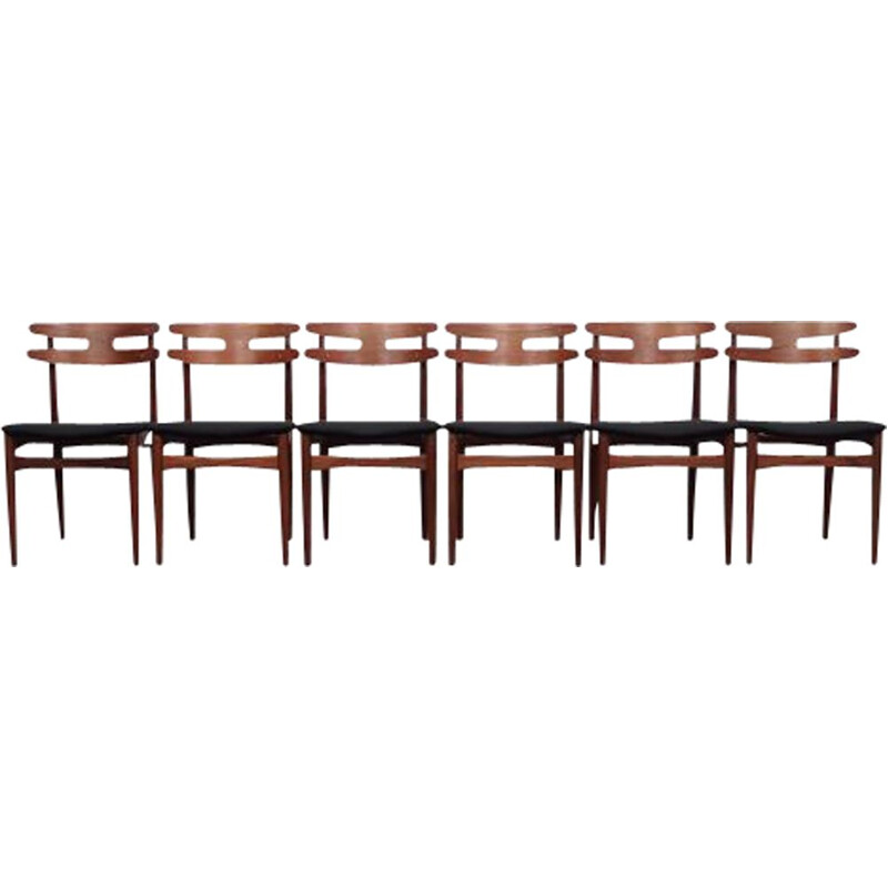 Set of 6 vintage Danish chairs by Johannes Andersen for Bramin, 1960s