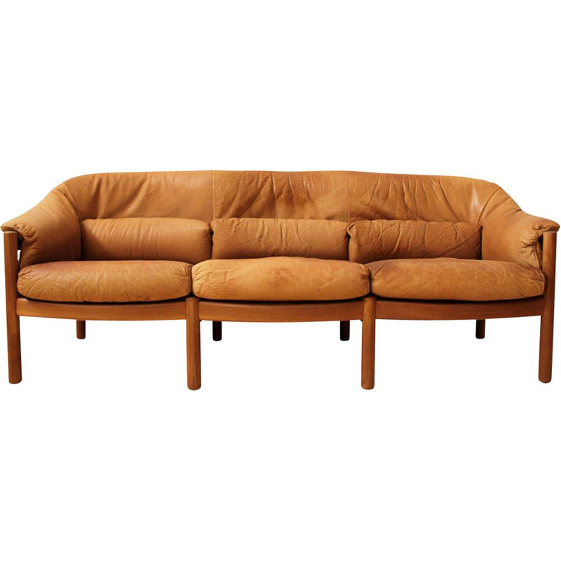 Vintage teak and leather 3 seater sofa in cognac color by Svend Skipper