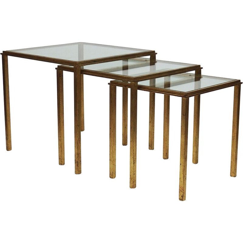 Set of 3 vintage nesting tables by Robert and Roger Thibier, 1970