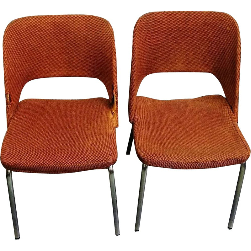 Pair of vintage brown fabric armchairs by Arne Jacobsen, 1950s