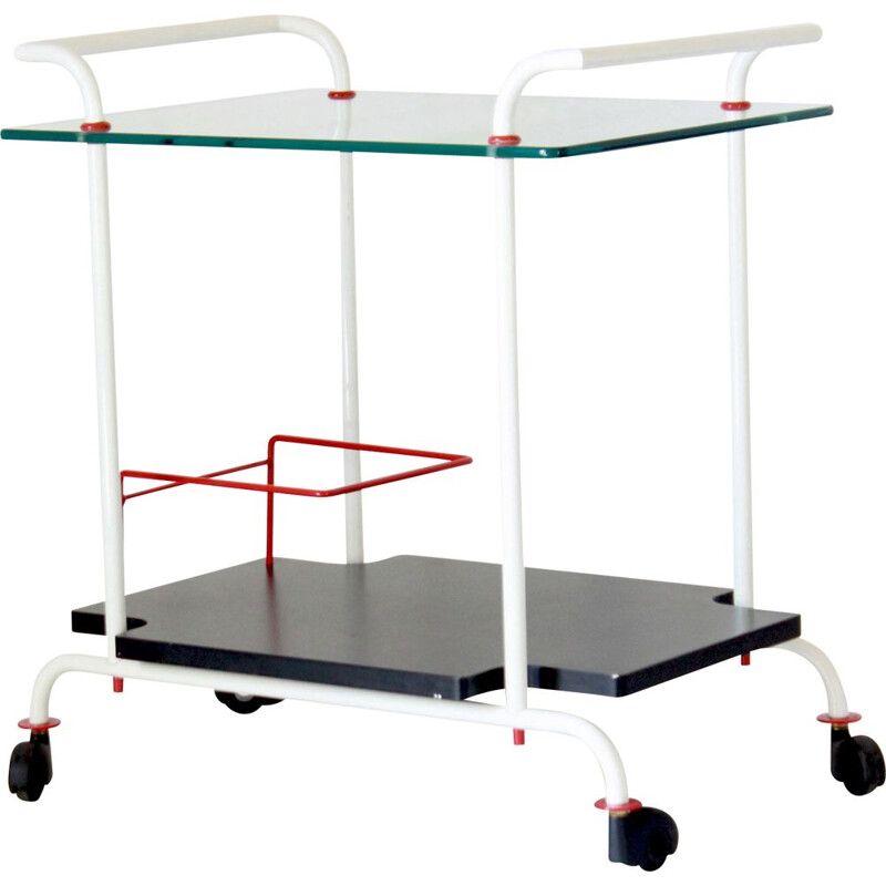 Vintage iron bar cart with double tray, 1980s