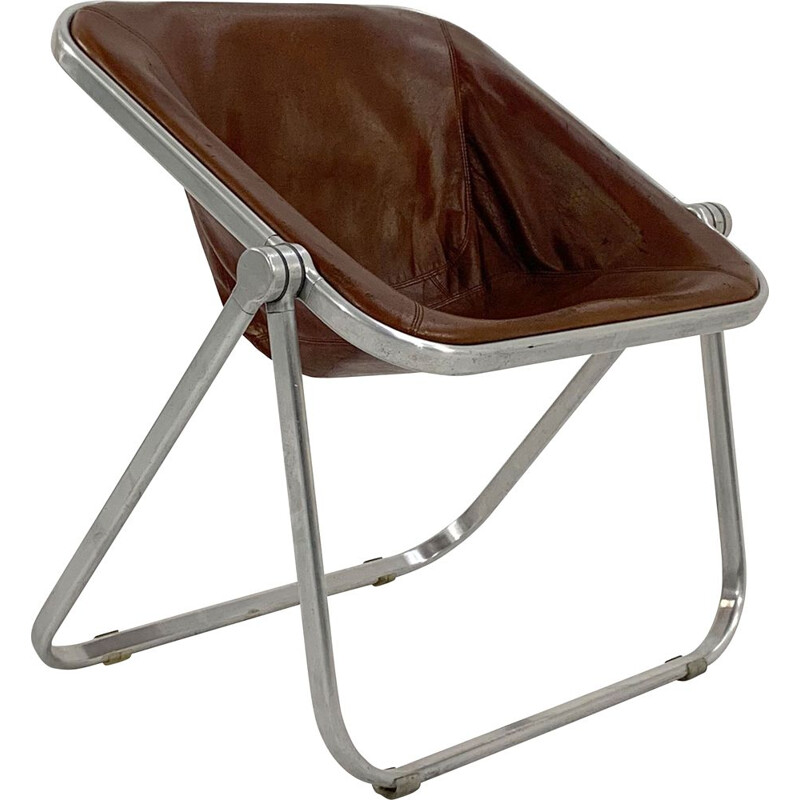 Vintage camel leather Plona chair by Giancarlo Piretti for Castelli, 1970s