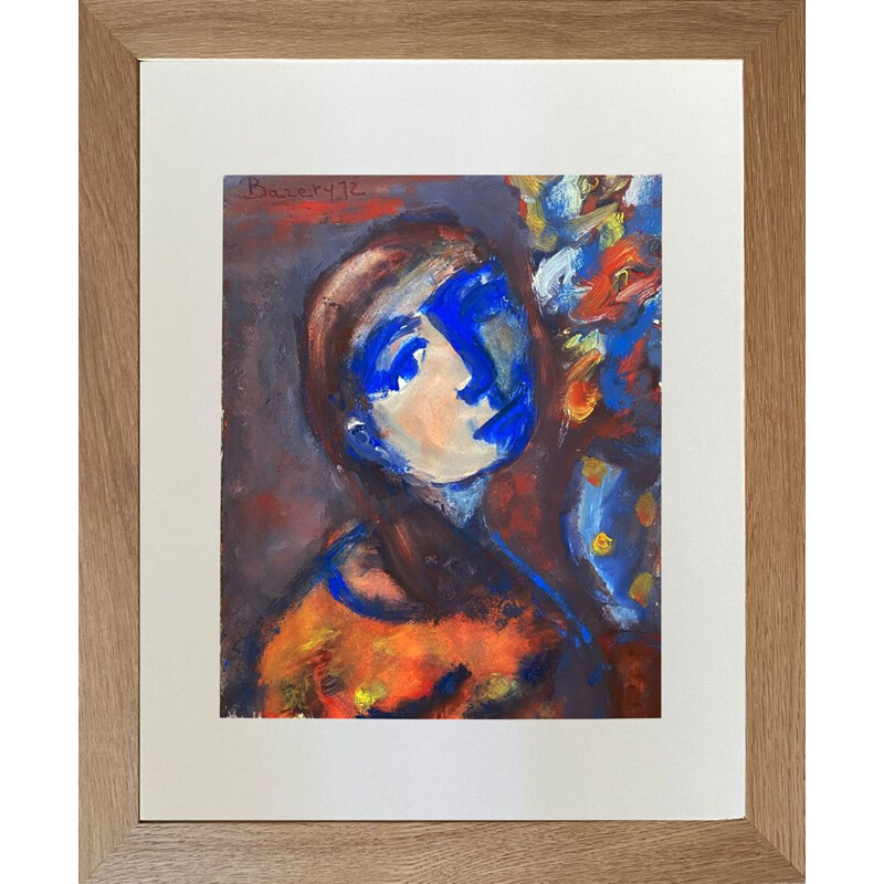 Vintage portrait of the girl in blue gouache on paper by Henriette Barety, France