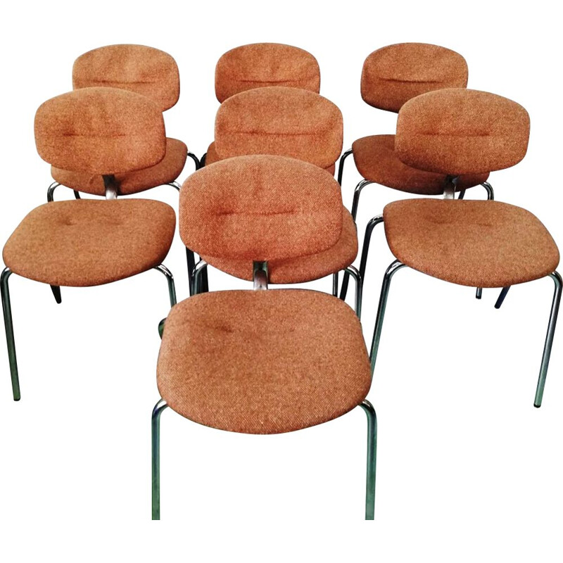 Set of 7 vintage Straford chairs in upholstered fabric by Pierre Paulin