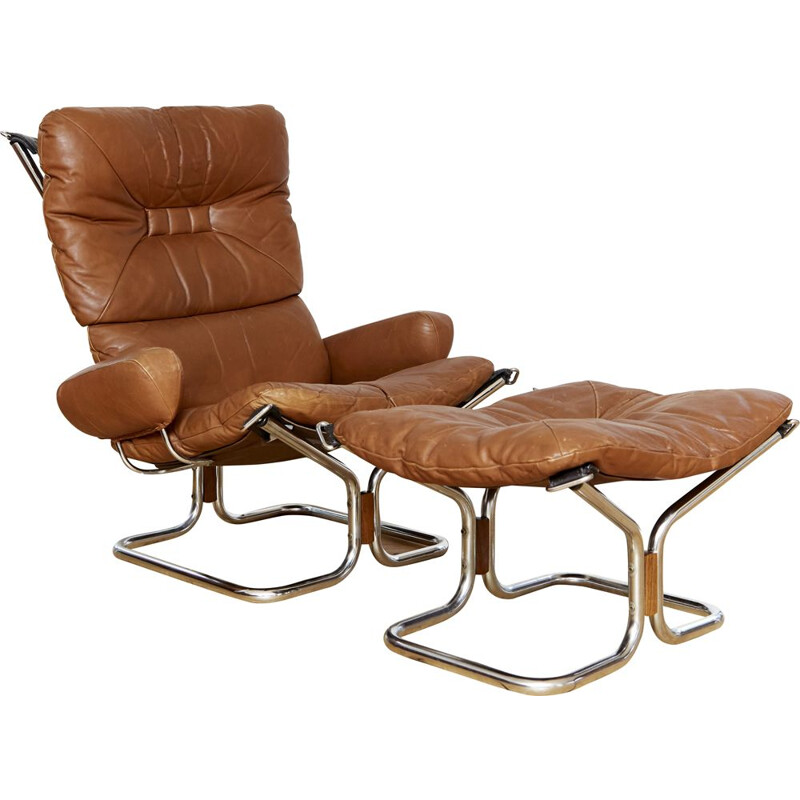 Vintage armchair and ottoman by Ingmar Relling for Westnofa, 1970