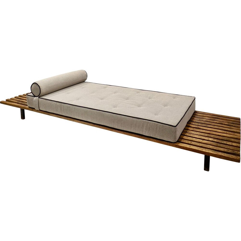 Vintage cansado daybed with mattress and cushion in grey fabric by Charlotte Perriand, 1950