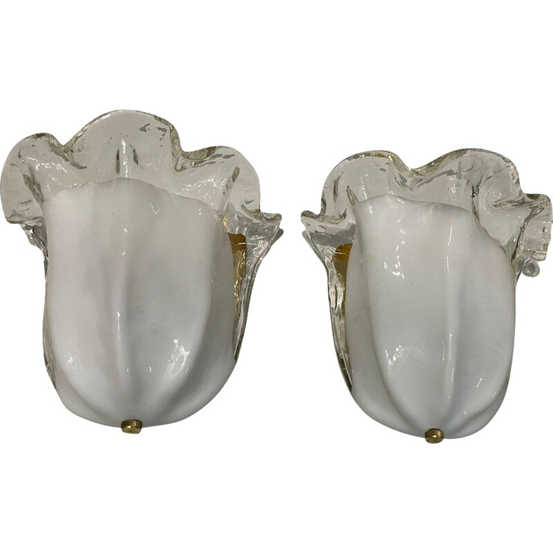 Pair of vintage Murano glass wall lamps from La Murrina
