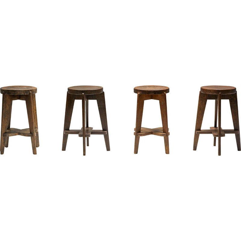 Set of 4 vintage Chandigarh stools by Pierre Jeanneret, 1960s
