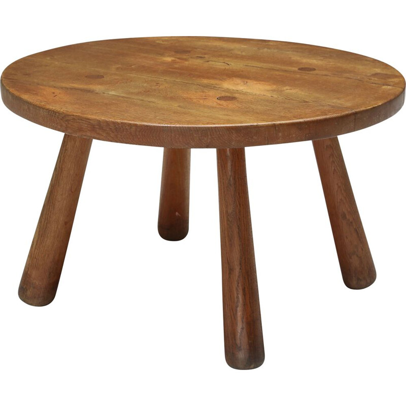Vintage rustic round coffee table, 1950s