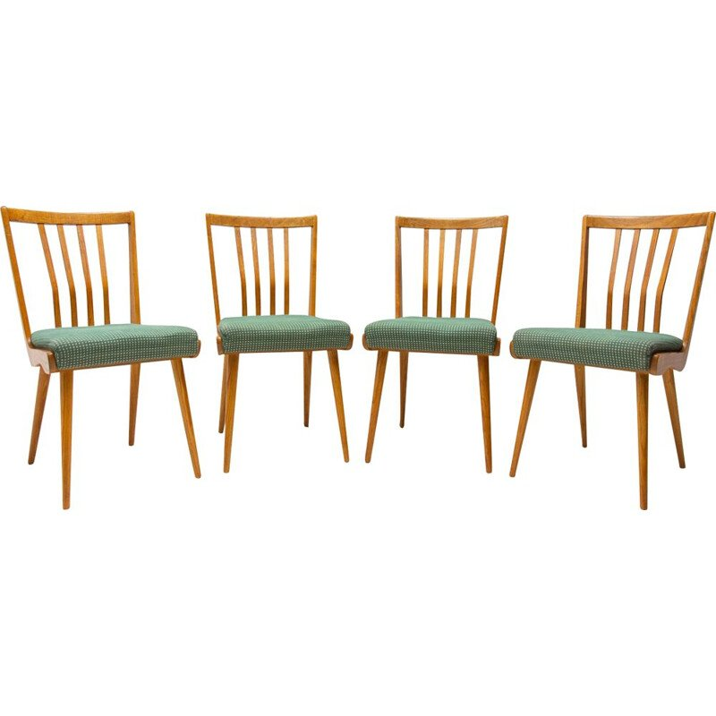 Set of 4 vintage upholstered chairs, Czechoslovakia 1960