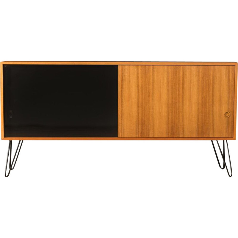 Vintage walnut sideboard with a sliding door, Germany 1950s
