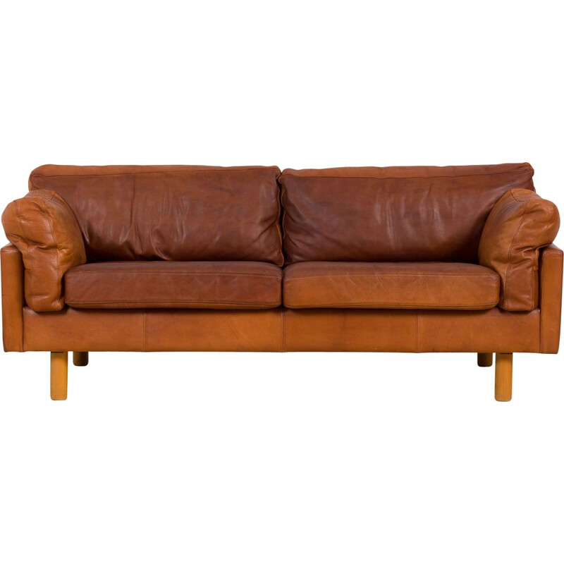 Danish vintage two and the half seater cognac leather sofa, 1970s