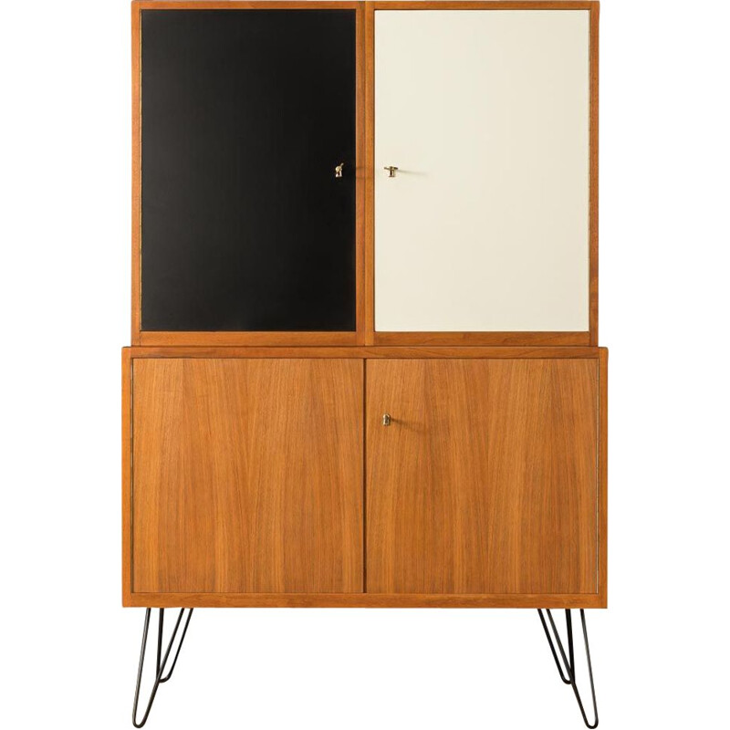 Vintage walnut and white and black formica cabinet, Germany 1950s