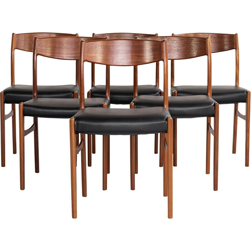 Midcentury set of 6 dining chairs in teak by Glyngøre Stolefabrik, Denmark 1960s