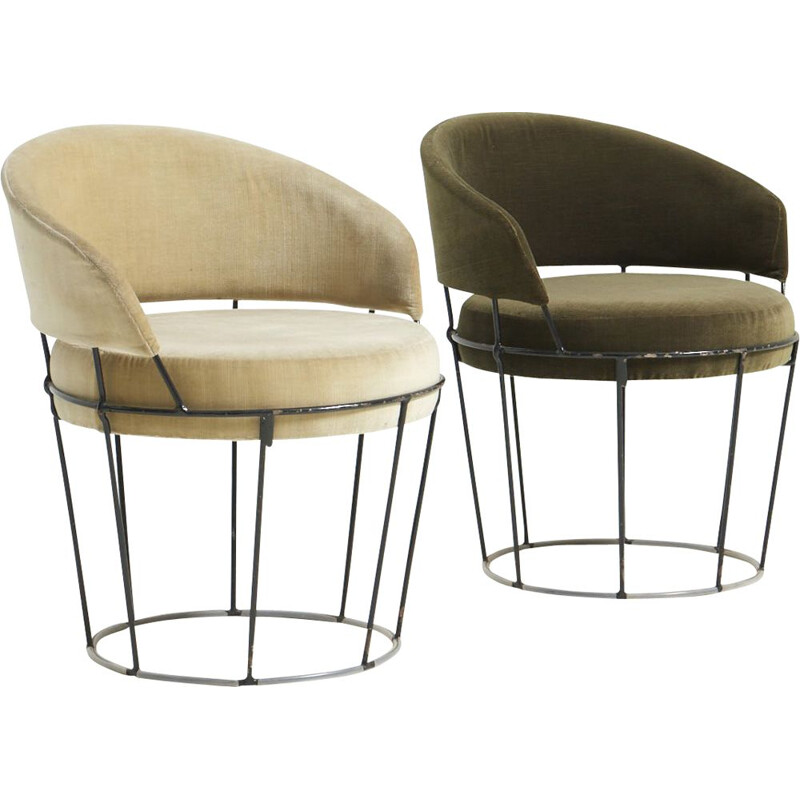 Pair of vintage wireframe cocktail armchairs, 1950s