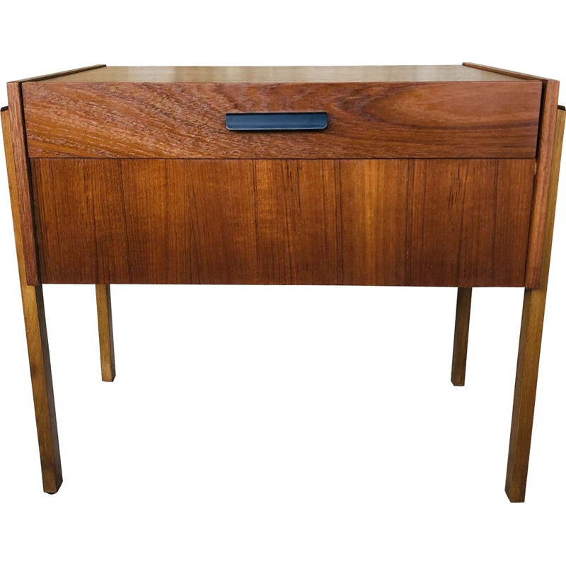 Scandinavian vintage teak side table with storage compartments, Denmark 1960s