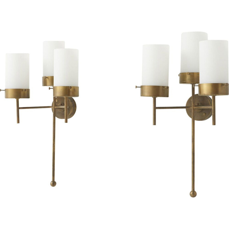 Pair of vintage brass wall lamps, 1960s