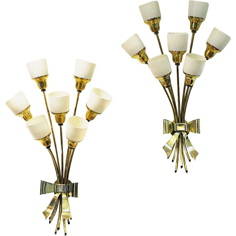 Pair of vintage bouquet brass wall lamps, 1940s
