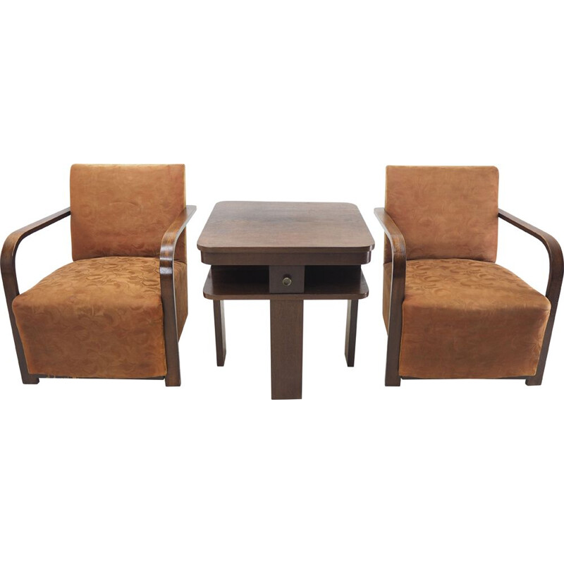 Pair of vintage Art deco armchairs with coffee table, 1930s