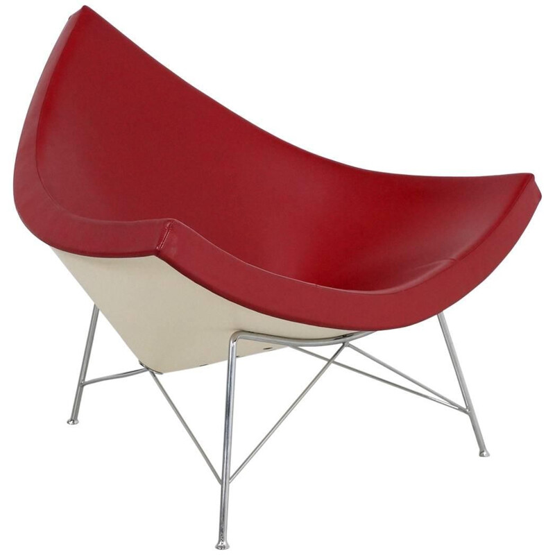 """Vitra """"Coconut"""" armchair in red leather, George NELSON - 1990s"""