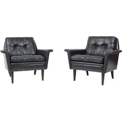 Lounge chairs in black leather, Hans OLSEN - 1960s