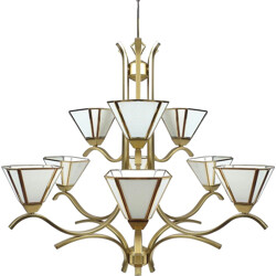 Brass and glass chandelier - 1980s